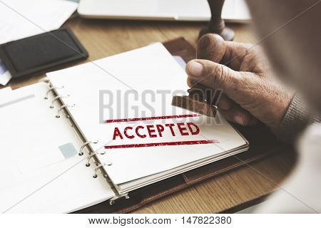 Accepted Approve Authorised Certified Decision Concept poster