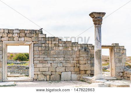 Ancient city Chersonese, ruins of Basilica 1935 VI-X c. , Sevastopol, Crimea Russia. Free space for text.