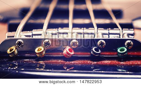 Strings Of A Jazz Bass Guitar