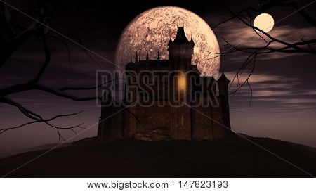 3D render of a Halloween background with a spooky castle