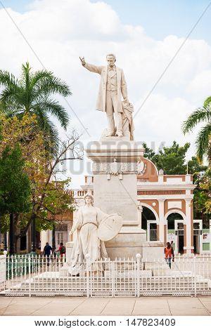 CIENFUEGOS CUBA - February 05 2008. Jose Marti square in the historic center of Cienfuegos. UNESCO World Heritage Site.