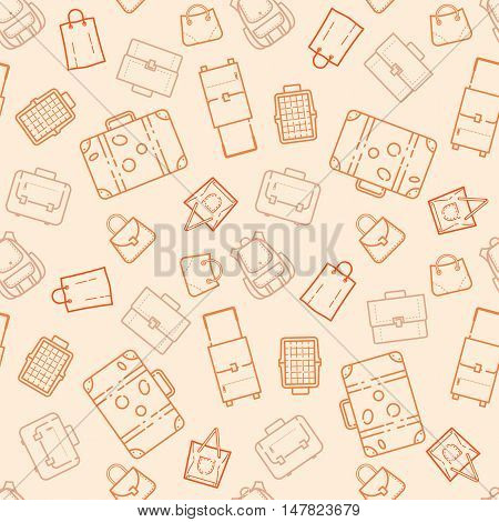 Bags and suitcases seamless pattern vector illustration
