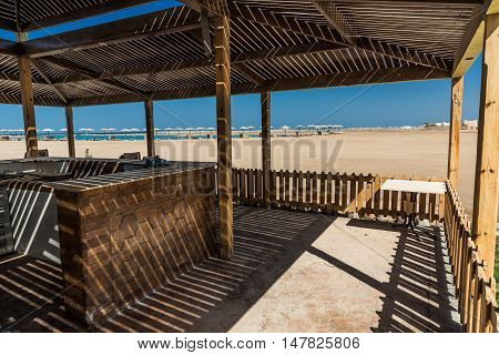 Empty Bar Wooden Building on the beach