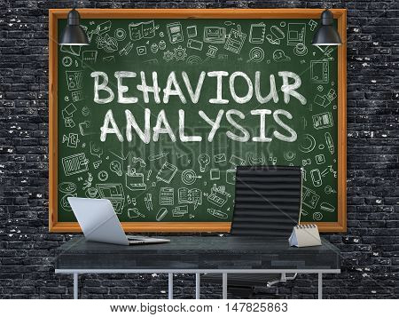 Green Chalkboard on the Dark Brick Wall in the Interior of a Modern Office with Hand Drawn Behaviour Analysis. Business Concept with Doodle Style Elements. 3D.