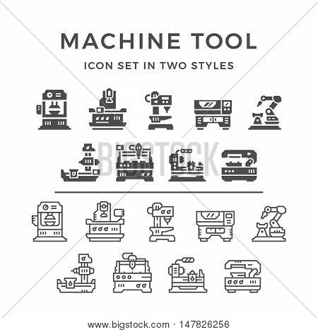 Set icons of machine tool in two styles isolated on white. Vector illustration