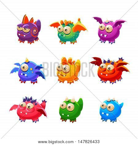 Toy Alien Monsters With And Without Wings Collection Of Bright Color Vector Icons Isolated On White Background. Cute Childish Fantastic Animal Characters Design.