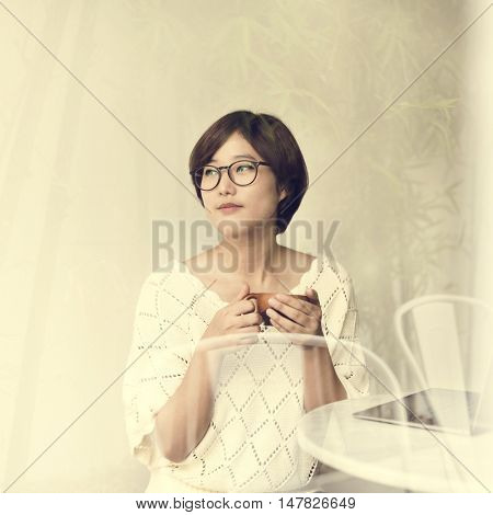 Asian Girl Drinking Tea Beverage Refreshment Relaxation Concept poster
