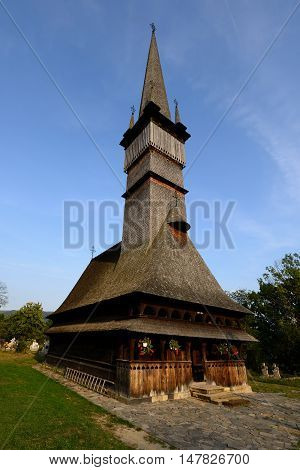 One of the highest wooden churches in Europe in Surdesti Romania Maramures