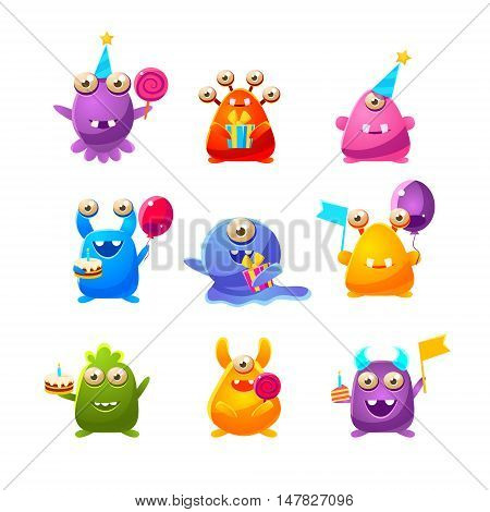 Toy Monsters With Birthday Party Objects Cute Childish Stickers. Cartoon Colorful Alien Characters Isolated On White Background.