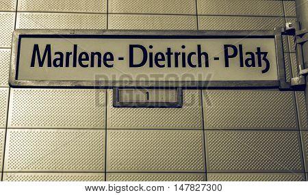 Vintage Looking Marlene Dietrich Platz Berlin