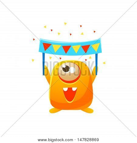 Orange Toy Monster With Party Banner Cute Childish Illustration. Cartoon Colorful Alien Character With Party Attribute Isolated On White Background.