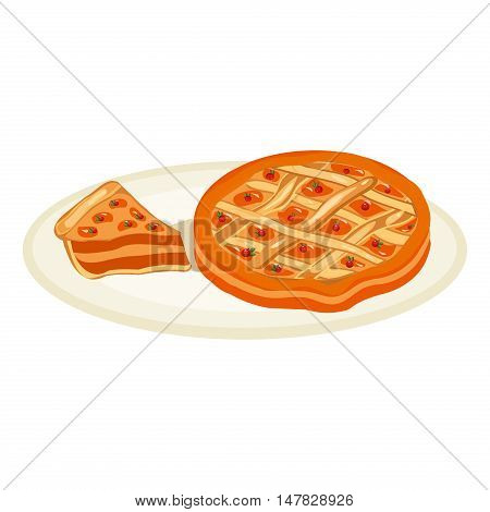 Warm apple pie food dessert sweet pastry piece sugar vector. Vector illustration cake pie fruit homemade bakery. Holiday cooking tasty chocolate cake pie cinnamon american bake.