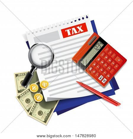 Government taxes payment. Tax calculation, financial research report.
