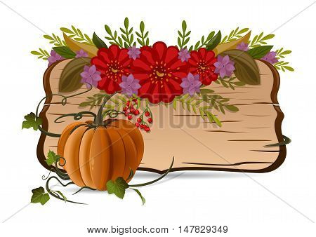 Autumn still life with pumpkin flowers and vintage wooden board with blank space for text. Vector illustration isolated on white background