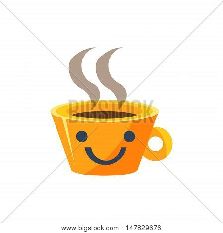Coffe Mug Primitive Icon With Smiley Face. Office Or School Desk Supply Sticker In Simplified Childish Cartoon Vector Design Isolated On White Background