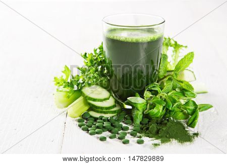 Healthy green vegetable juice.