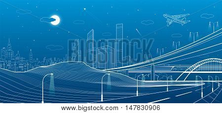 Car overpass, city infrastructure, urban plot, plane takes off, train move, transport illustration, mountains, white lines on blue background, vector design art