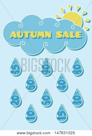 sale rain / Autumn sale poster with dripping discounts.