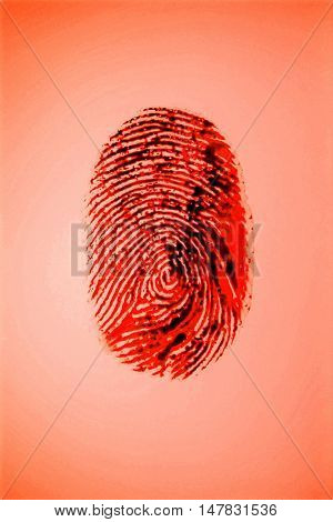 Fingerprint on red background
