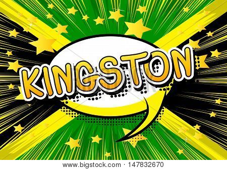 Kingston - Comic book style text on comic book abstract background.