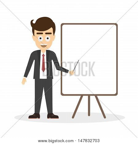 Businessman with white board on white background. Isolated cartoon smiling man standing with pointer and board. Concept of teacher, tutor and coach.
