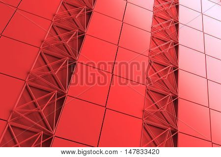 3D Rendering Abstract Background With Repeat Of Wireframe Geometry Structures.