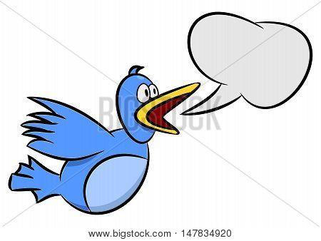 Cartoon illustration of a blue bird with a speech bubble