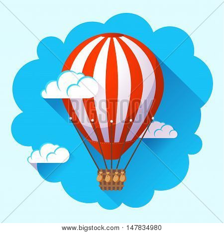 hot air balloon icon in the sky clouds vector.