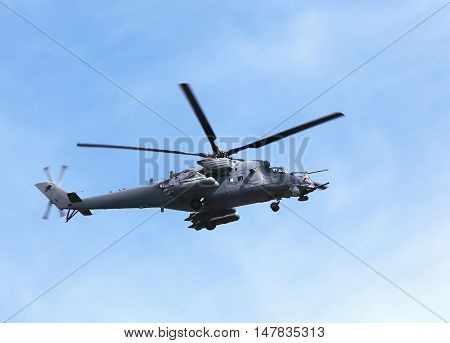 MOSCOW  -   MAI 9: Perform  flight by the modern russian attack helicopter Mi 24  -  on Mai 9, 2015 in Moscow
