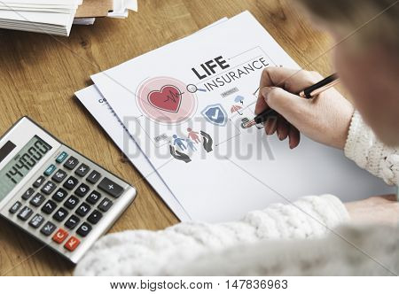 Life Insurance Senior Adult Investment Health Concept poster