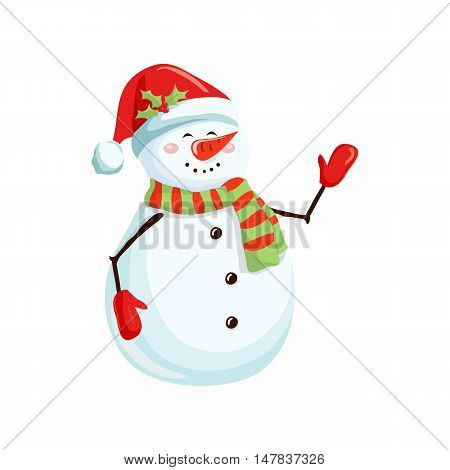 Christmas snowman. Christmas holiday object. Christmas snowman vector illustration. Cartoon snowman with scarf, mittens and santa hat. Winter character