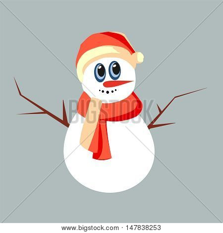 fanny christmas a snowman  on grey background