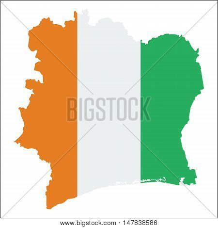 Cote D'ivoire High Resolution Map With National Flag. Flag Of The Country Overlaid On Detailed Outli