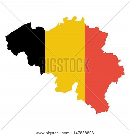 Belgium High Resolution Map With National Flag. Flag Of The Country Overlaid On Detailed Outline Map