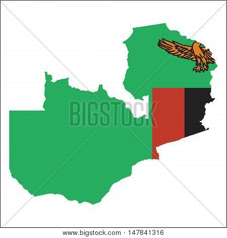 Zambia High Resolution Map With National Flag. Flag Of The Country Overlaid On Detailed Outline Map