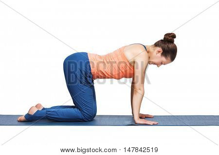 Beautiful sporty fit yogini woman practices yoga asana bitilasana - cow pose gentle warm up for spine (also called cat-cow pose) in studio isolated on white