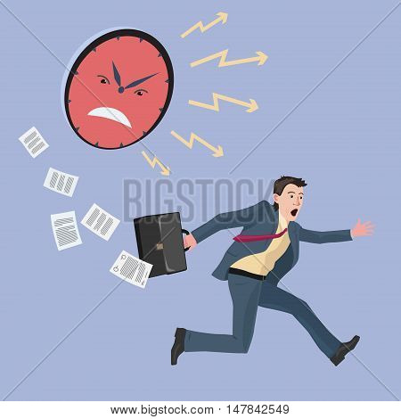 very concerned and strongly hurrying man in a business suit