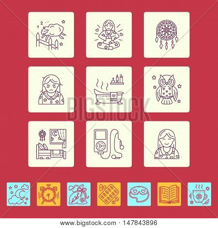 Modern vector line icon of insomnia problem and healthy sleep. Elements - clock pillow pills dream catcher counting sheep. Linear pictogram with editable stroke for sites brochures about insomnia