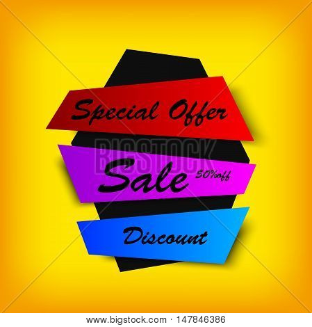 sale colorful banner. Creative discount background. Vector image