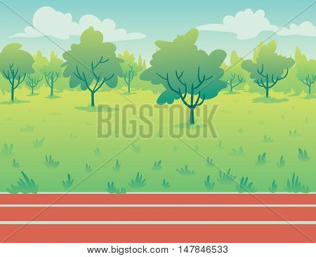 Park landscape with running track in flat cartoon style. Environment with green trees, grass and track. Vector illustration of park background for your design or part of your artwork.