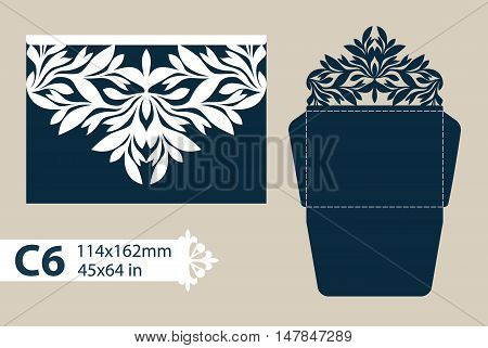 Template congratulatory envelope with carved openwork pattern. Template is suitable for greeting cards invitations etc. Picture suitable for laser cutting or printing. Vector