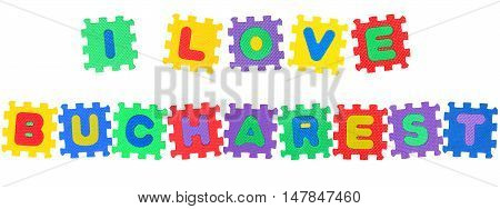 Message I Love Frankfurt from letters puzzle isolated on white background.