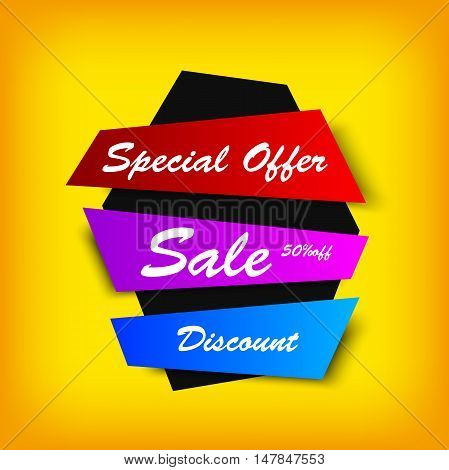 sale colorful banner. Creative discount on yellow background. Vector image