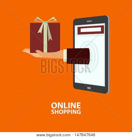 Hand delivers gift box out from mobile phone. E-commerce internet shopping. Buying concept in flat style. Vector illustration easy to edit