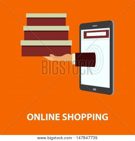 Hand delivers boxes with the purchased goods out from mobile phone. E-commerce internet shopping. Buying concept in flat style. Vector illustration easy to edit