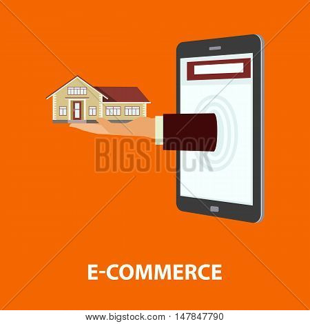 Hand delivers house out from monitor mobile phone or tablet. E-commerce online shopping internet buying purchase and rental property concept. Vector illustration in flat style easy to edit