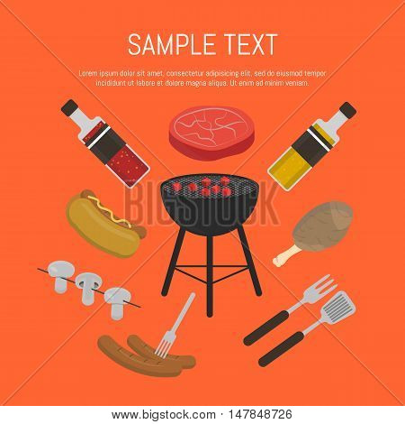 Vector illustration barbecue grill card. Hot dog, sausages, sauce and ketchup, mushrooms, steak and grill tools around barbecue grill on red background. Food banner. BBQ party invitation. BBQ grill icons. Bbq kettle icon.