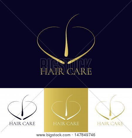Hair care logo template in four colors. Hair follicle icon. Hair bulb symbol. Hair medical diagnostics sign. Hair transplant center logo. Hair loss treatment concept. Vector illustration.