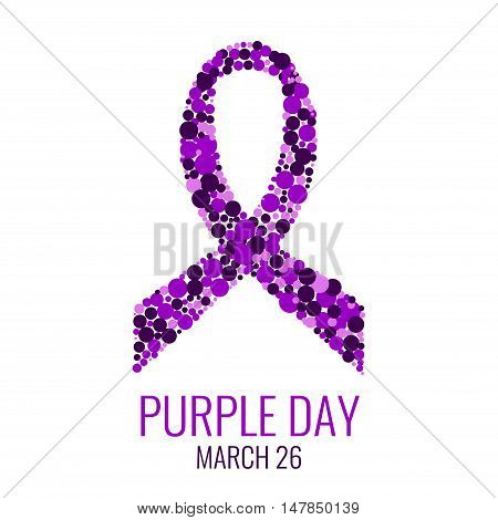 Purple ribbon made of dots on white background. World epilepsy day. Purple Day epilepsy awareness ribbon. Epilepsy solidarity day. Isolated vector illustration.
