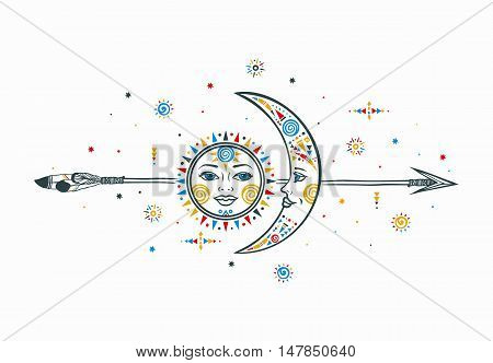 Sun moon arrow illustration. Ethnic sun. Ethnic moon. Vector moon sun with arrow. Tribal ethnic moon sun. Aztec sun moon. Boho hand drawn moon sun. Ethnic symbol sun moon. Moon sign. Sun face sign.